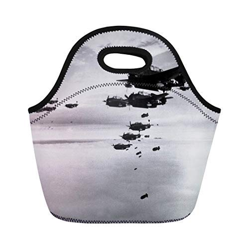 Lunch Bag Tote Boxes Bags Lunch Box Planes From the Uss Essex Aircraft Carrier Dropping Bombs Neoprene Lunch Tote Bag Portable Picnic Bag Cooler Bag