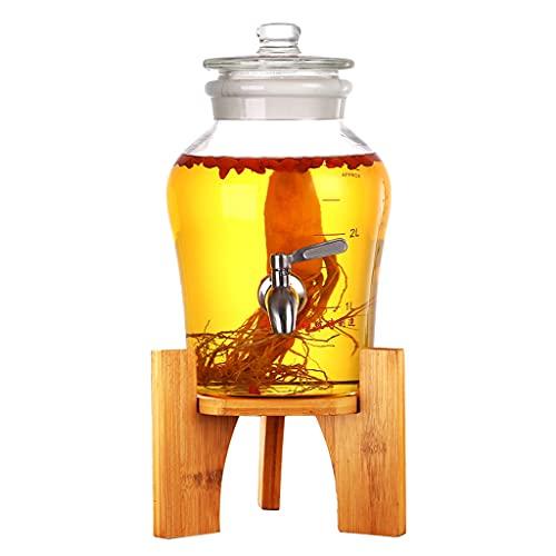 YMQ Barril de Cerveza 3 litros Barriles De Vino con Grifo Y Soporte, Copa Grande Dispensador De Vinos, Espíritus Whiskey Licor Almacenamiento Botella De Vino para Barra Fiesta Hogar