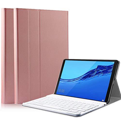 SsHhUu Funda con Teclado para Huawei MediaPad MediaPad T3 10, Keyboard Case Cubierta Delgada, Teclado Inalámbrico Desmontable para para Huawei MediaPad T3 10-Pulgadas Tablet,Oro Rosa