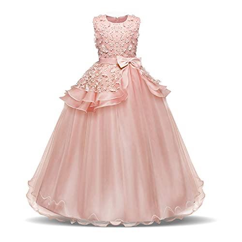 NNJXD Ragazza Ricamo Senza Maniche Concorso di Bellezza Principessa Abiti da Ballo Taglia(120) 4-5 Anni 354 Rosa-A