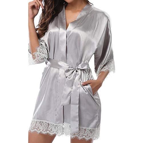 Yying Malla Spandex Boda Novia Traje de Dama de Honor Sólido Albornoz Corto Kimono Traje Traje de Noche Traje de Baño Bata de Vestir de Moda para Mujeres