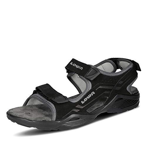 Lowa 410379 Duralto Herren Sandale aus Veloursleder Trekking Klettverschluss Uni, Groesse 46, schwarz