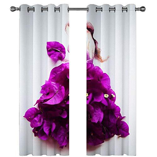 Vorhänge Blickdicht Lila Blume Abstraktes Mädchen 2er Set Druck Thermo Gardinen Polyester Ösenschal Thermovorhang Lichtdicht Verdunkelungsvorhang für Schlafzimmer Kinderzimmer Dekoration 150x166cm