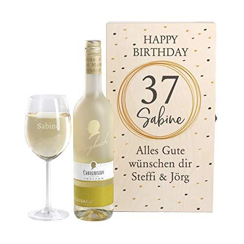 Herz & Heim® Maybach Wein-Geschenkset mit graviertem Weinglas und Weißwein zur Auswahl ein edles Geburtstagsgeschenk Chardonnay