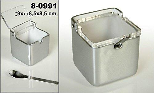 DONREGALOWEB Zuccheriera quadrata in ceramica di colore argento con coperchio acrilico trasparente e cucchiaino in acciaio inox.