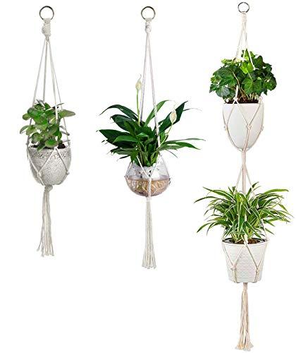 ATIDY Confezione da 3 appendini per Piante, Supporto per Piante da Appendere Supporto per fioriera da Appendere Corda di Cotone Decorativa Fatta a Mano