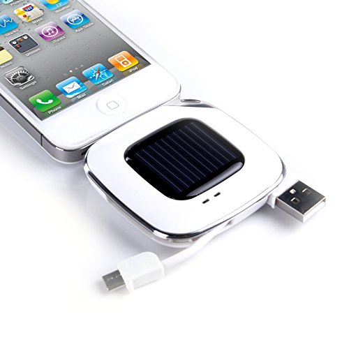 Incutex banco de energía solar 3 en 1 con 500mAh y micro USB compatible para Samsung Galaxy S2 S3 S4 S5 S6 cargador externo con celda solar, cargador USB, cargador de emergencia, blanco