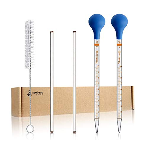 2PCS 10ml Glass Graduated Droppers Lab Pipettes Dropper Liquid Pipette with 2 Rubber Caps 2PCS 20CM Glass Stir Rod and Droppers Brush