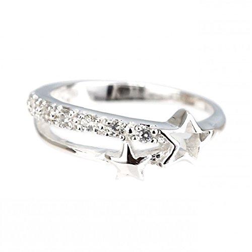 ジナブリング (JINA BRING) ピンキーリング 指輪 流れ星 オープンツインスター ファランジリング ジルコニア 星 スター 幸運 小指リング シルバー925#4