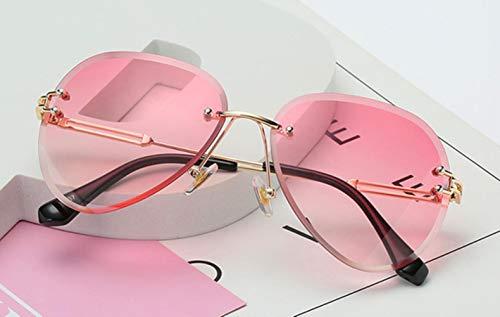 UKKD Gafas De Sol Vintage Sin Montura De Gafas De Aviador Hombres De Las Mujeres Gafas De Sol Mujer Lentes De Gradiente Retro-Cuello,Oro Rosado