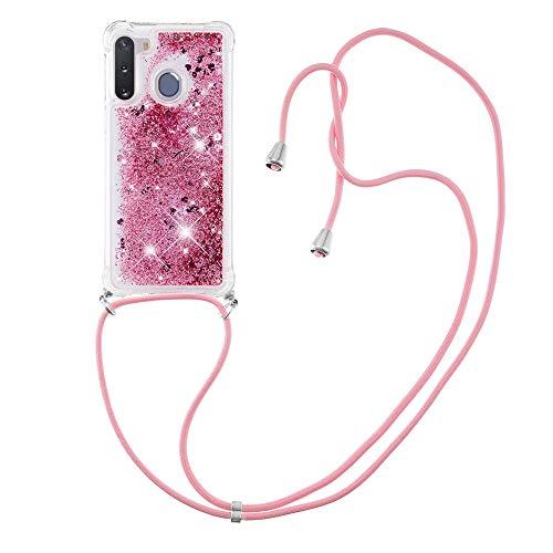 Schutzhülle für Samsung Galaxy A21 (Roségold) mit Flüssigkeit und Treibsand