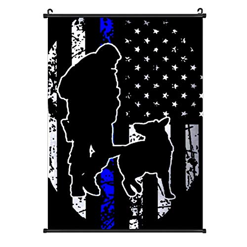 Hanging Poster, Canvas Wall Art Decor Painting Home Decoration Artwork Print for Living Room Dining - Police K-9 Thin Blue Line USA Flag
