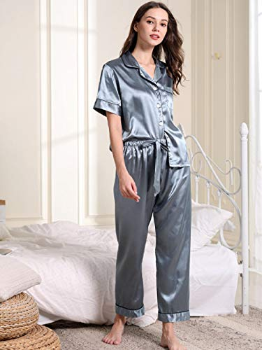 FSJE Pijama Set Pijamas de Estilo Nuevo Pijamas de Seda de Manga Corta para Mujer, Pantalones de Encaje, cárdigan, Ropa Holgada para el hogar, Pijamas de Mujer
