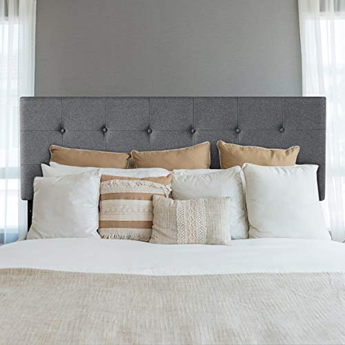 Giantex Modern Upholstered Headboard, Tufted Button Faux Linen Headboards, 3 Level Adjustable Height, Heavy Duty Metal, Queen& Full Size Suitable (Grey)