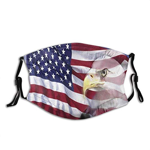 Face Protect Windproof Shield mit Filter Bless America Flagge im Wind mit Eagle Icon Doppelbelichtung Citzien Image Staubfilter Mund warm