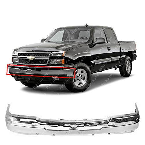 MBI AUTO - Chrome Steel, Front Bumper Face Bar for 2003-2006 Chevy Avalanche & Silverado 1500/2500 & 2007 Silverado Classic Pickup, GM1002416