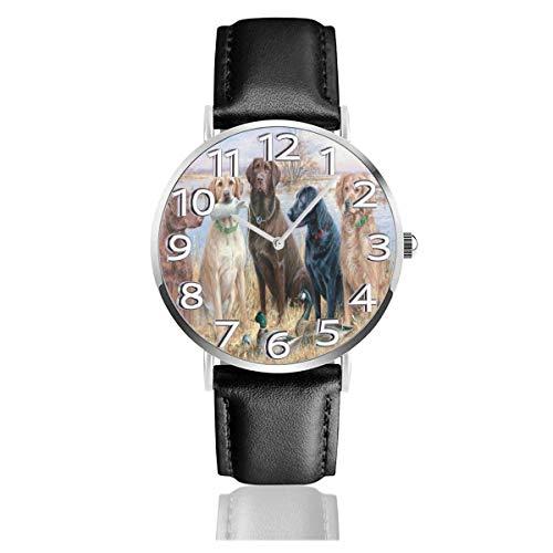 Watches Reloj de Pulsera Analógico Monoaguja de Cuarzo para Hombre Reloj para Hombre de Cuarzo Pato Caza Perro Cool Cachorro Negro Animal con Correa en Cuero
