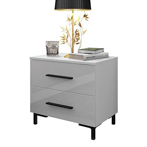 LUK Furniture Nachttisch LINA mit hohen Füßen Schubladen und LED Beleuchtung weiß Hochglanz HG Schlafzimmer Schlafzimmerkommode Nachtkonsole Nachtschrank Beistelltisch