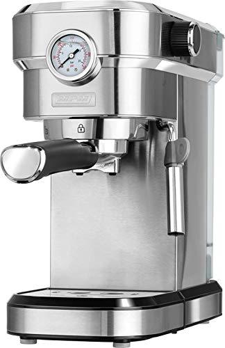 MPM MKW-08M Cafetera Express 20 Bares, para Realizar café Espresso y Cappuccino, vaporizador para espumar Leche, calienta Tazas,Acabado Acero Inoxidable, depósito de Agua 1,2 L Desmontable, 1350W