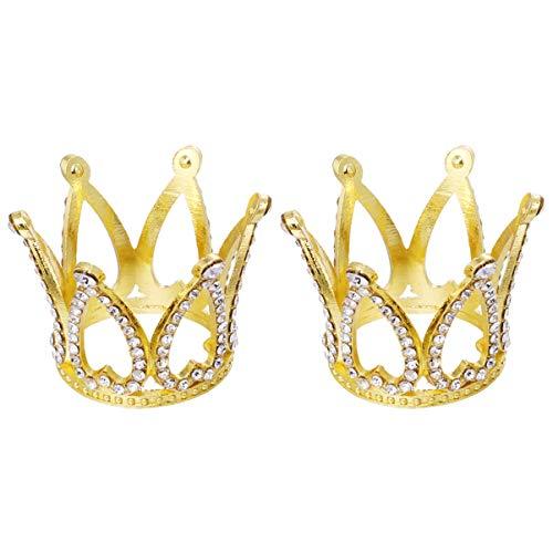 Amosfun 2 Stücke Krone Kuchendeckel Mini Strass Tiara Kuchen Dekorationen Baby Shower Prinzessin Prinz Kopfbedeckung Liefert Goldene