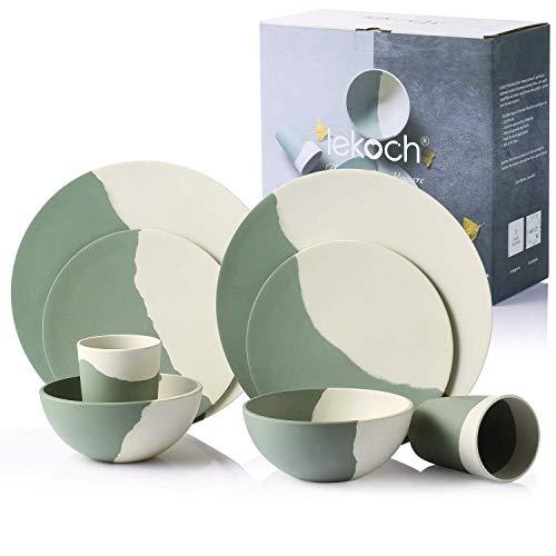 LEKOCH - Juego de vajilla (8 Piezas, bambú, para 2 Personas, Color...