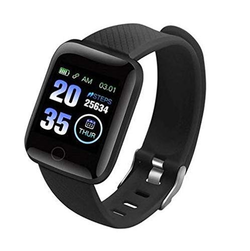 HUG PUPPY ID116 Plus Bluetooth Fitness Smart Watch for Men Women and Kids Activity Tracker (Black)