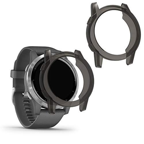 kwmobile 2 Pack de Fundas Compatible con Fitness Tracker Garmin Vivoactive 4 (45 mm) - Case en Negro/Transparente