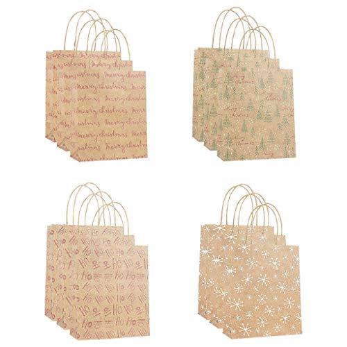 Floweworld 12 Stück Tasche Mitbringsel Heiligabend Tasche Kraftpapier Einkaufstasche (S-L, Vier Stile, jeder Stil 3 Stück)