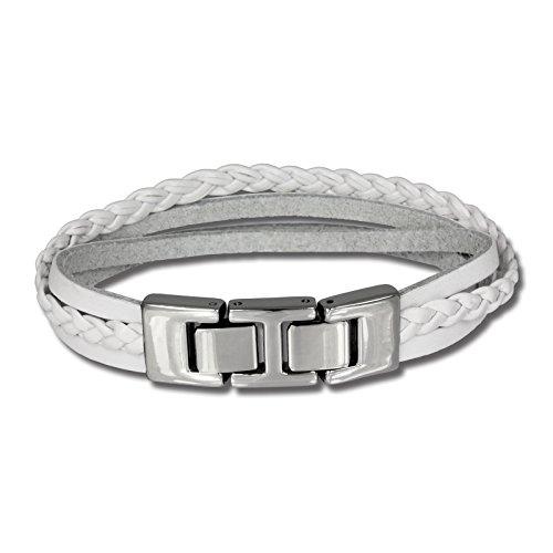 SilberDream Lederarmband weiß mit Zierkordeln und Edelstahl-Verschluss für Damen oder Herren Leder Stahl Armband Echtleder LAP003W