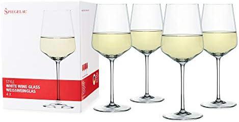 Spiegelau Style Burgundy Wine Glasses, Set of 4, European-Made Lead-Free Crystal, Classic Stemmed, Dishwasher Safe, Professional Quality Red Wine Glass Gift Set, 22.6 oz