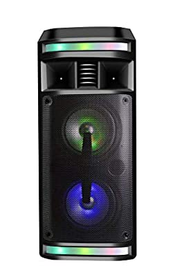 Dynasonic - Audio system (Bluetooth, Portable speaker, USB, multicolored LED, FM radio, Microphone), contains karaoke mode, Black - Model DY-65201 by DYNASONIC
