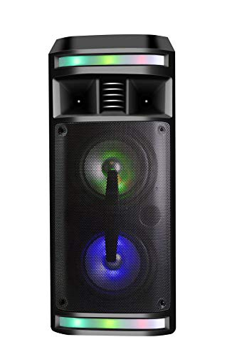 DYNASONIC - DY-65201 Altavoz Inalámbrico Sistema de Audio | Bluetooth, Altavoz Portatil, USB, Luces Multicolor, Radio FM, Micrófono, Color Negro
