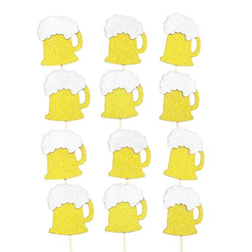 NUOBESTY 12pcs golden Glitter Cupcake Topper Bier Cupcake Picks Wüste Picks Oktoberfest Partei begünstigt Hochzeit Geburtstagstorte Dekoration
