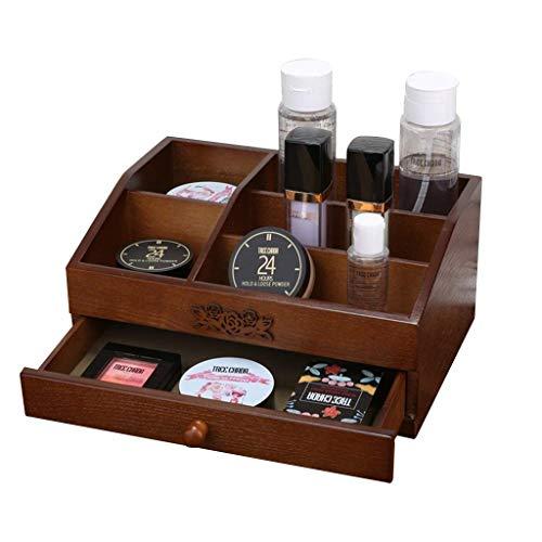 ZXL Cosmetische Organisatoren Cosmetische Opslag Organisatoren Opbergdoos Badkamer Opslag Plank Opslag voor Afstandsbediening (Kleur: Walnoot, Maat: 30 * 22 * 17cm)