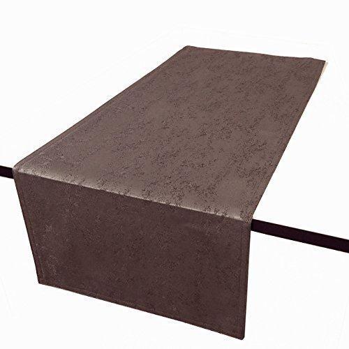 DecoHomeTextil Jacquard Tischdecke Granit Tischläufer Eckig Dunkelbraun 40 x 140 cm Meliert mit Lotus Effekt Größe & Farbe wählbar