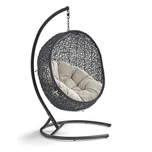 Modway EEI-739-BEI-SET Encase Wicker Rattan Outdoor Patio Porch Lounge Egg, Swing Chair with Stand, Beige