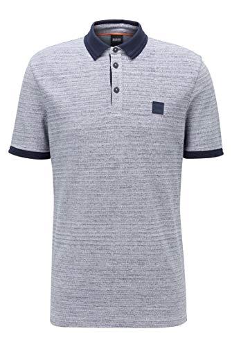 Photo of BOSS Mens PSelf Polo Shirt in Double-Spun Two-Tone Cotton Dark Blue