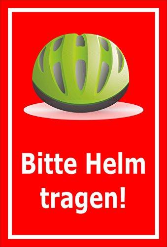 Melis Folienwerkstatt sticker schild - Gelieve helm te dragen - S00050-090-D 60x40cm – Aluverbundplatte – ohne Bohrlöcher