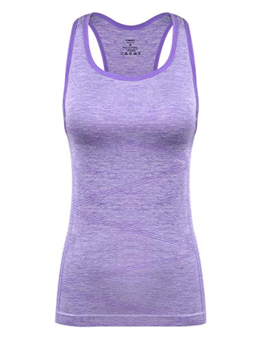 Disbest Yoga Tank Top, Women's Performance Stretchy Quick Dry Sports Workout Running Top Vest with Removable Pads (Lavender, Medium)