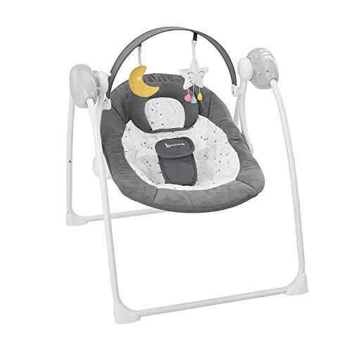 Badabulle Komfort-Moonlight elektrische Babywippe und Babyschaukel, mit 3 Schaukelgeschwindigkeiten, Timer und 8 Melodien