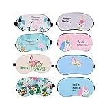 Set mit 8 Stück Einhorn-Schlafmasken und Flamingo-Schlafmaske, Augenschutz für Reisen, Nickerchen, Ausruhe, Pyjama, Party-Zubehör