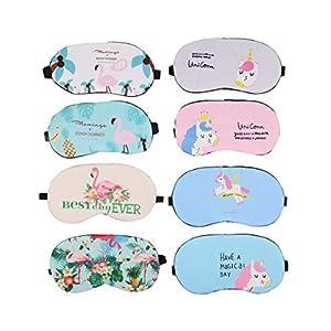 Set of 8 Pcs Unicorn Sleep Eye Mask and Flamingo Sleeping Mask Eyeshade Eyepatch Sleep Eye Cover for Travel Napping Rest Pajamas Party Accessories
