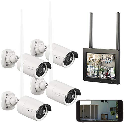 """VisorTech IR-Überwachungskamera: Funk-Überwachungsset: 7\""""-LCD-Touchscreen, 4 Full-HD-Kameras, WLAN, App (Überwachungskamera-System)"""