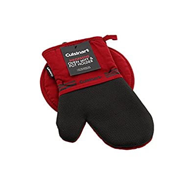 Cuisinart Oven Mitt & Potholder Set w/Neoprene for Easy Gripping, Heat Resistant up to 500 degrees F, Red