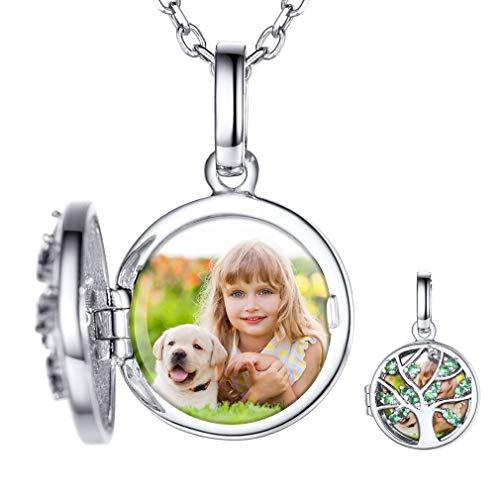 Custom4U Joyería Personalizada árbol de Vida para Madre Plata de Ley 925 Collar Locket Colgante Conmemorativa Foto Personal Relicario para Cumpleaños