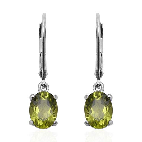 TJC Green Peridot Earrings Dangle Drop Solitaire Earrings Sterling Silver Earrings Gift for Wife Girlfriend Fiancee 2.6 Ct