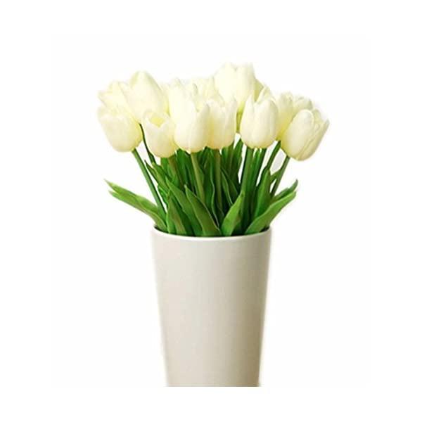 Artificial Flowers Real Touch PU Mini Tulips Artificial Plants for Wedding Bouquet Living Room Home Hotel Party Christmas Decoration and Holiday Vase Not Included