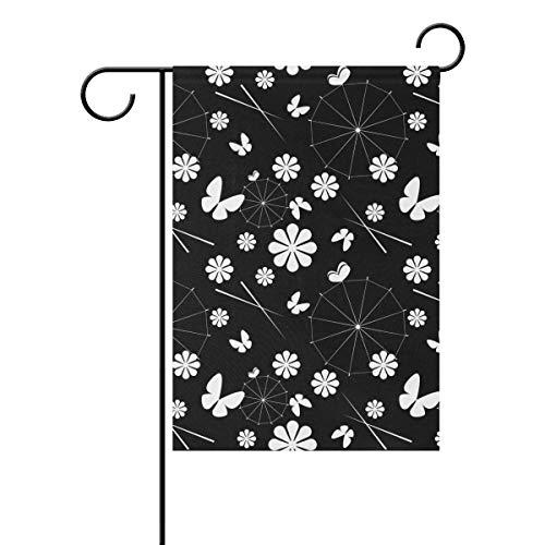 Jessgirl Japan Sonnenschirm und Blumen 28x40Inch Vintage Garten Flagge für Outdoor Double Sided Yard Farm Patio Modernes Dekor