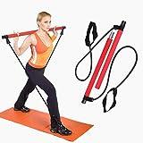OUTERDO Pilates-Stange mit Widerstandsband, Fitnessbänder mit Fußschlaufe, Fitnessband Widerstandsband Stange für Ganzkörperübung
