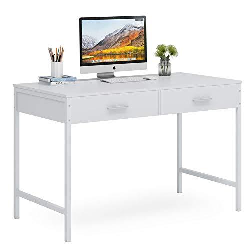 Tribesigns Mesa de escritorio M043 escritorio con cajones, escritorio blanco completo para juegos o maquillaje, estación de trabajo portátil para oficina en casa